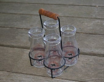 Collectible RONNY BROOK Dairy Wire Carrier And Four Half Pint Glass Cream Bottles Circa 1990