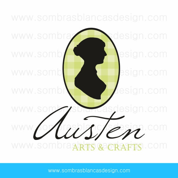 OOAK Premade Logo Design - Jane Austen Green Plaid Camafeo - Perfect for a vintage boutique or a second hand book shop