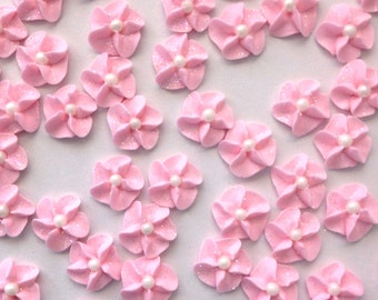 Pink Royal Icing Flowers with Sparkles