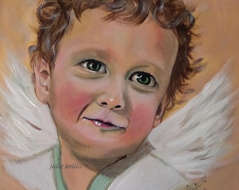 Super Special Clearance Sale....Sweet Angel - Original Acrylic Painting...Child with Wings...30cm x 30cm x 4cm on canvas