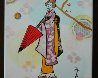 Japanese washi paper girl and acrylic paint art, mixted media, wall decor - Geisha girl on 8 x 10 canvas