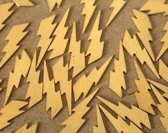16 pc. Medium Raw Brass Lightning Bolts: 25mm by 7mm - made in USA | RB-479