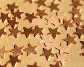 24 pc. Small Raw Copper Stars: 10mm by 10mm - made in USA | RB-485