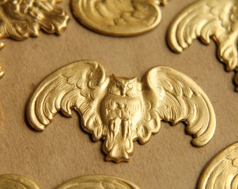 6 pc. Large Raw Brass Fierce Owls With Spread Wings: 35mm by 20mm - made in USA | RB-519