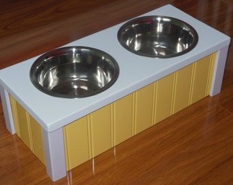 "6"" High Elevated Pet Feeder, These Raised Dog Feeders and Cat Feeders are Totally Unique and Totally Beautiful. Hand Made Here in the USA"