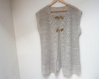 Crochet linen vest blouse top ecru taupe gray girl woman openwork size L M large medium knit handmade flax folk art peasant floral