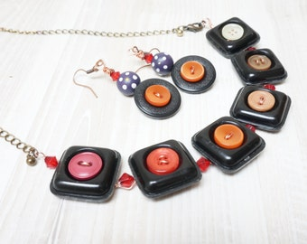Button earrings necklace set dangle long pendant bead jewelry charm red black white ombre handmade brass copper chain ooak