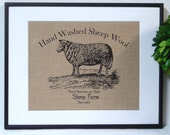 75% OFF SALE Burlap French Country Sheep Print