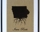 75% OFF SALE State Pride Burlap Print | State Art | Personalized Name Sign | Iowa Roots | Rustic Home Decoration