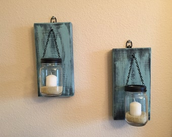 Set of  2 Rustic Mason Jar Wall Sconce, Candle Sconces with Mason Jar Candle Holders