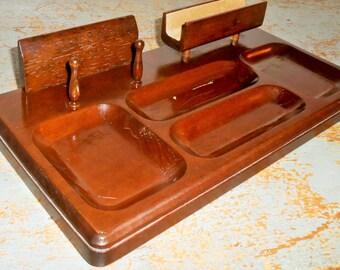 Vintage Dresser Caddy, Wood, Desk Caddy, Jewelry Holder, Desk Organizer, Office Decor