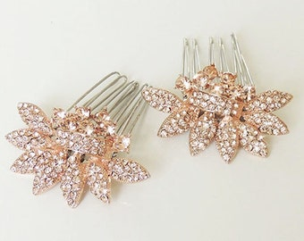 Lydia - Rose Gold Bridal hair comb - Two small vintage style crystal Hair combs Wedding hair accessory - Made to order
