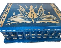 8'' Kalotaszeg Wooden Security System Puzzle Box For Jewelry Puzzle Chest Trick Blue