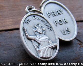 St Dominic Necklace. Saint Dominic. St. Dominic. Catholic Saint Medal Charm. Patron Saint.  Jewelry. Baptism Godparents Gift. Vintage Image