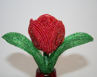 Beautiful French Beaded Red Tulip Flower - Made to Order