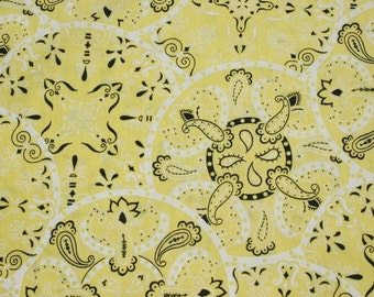 Vintage Yellow Black Cotton Bandanna fabric by the yard, Paisley Quilting Sewing Material Fabric BTY