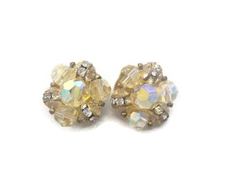 Vintage Lisner Clip On Earrings Iridescent Yellow with Rhinestones