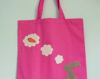 Rabbit tote bag - Bunny dreaming of carrots - shopping bag