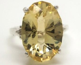 5.80 Carat Citrine Gemstone Ring Size 6 Sterling Silver Hand Cut Gem
