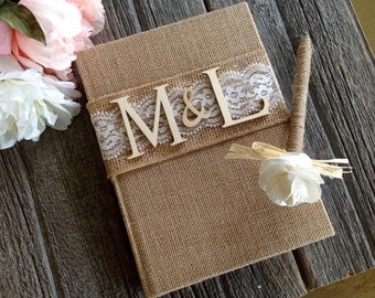Rustic Wedding Guest Book and Pen. Burlap Guest Book. Personalized.