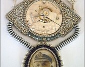 Titanic - Steampunk necklace with silver watch movement and pyrite stone, bead embroidered