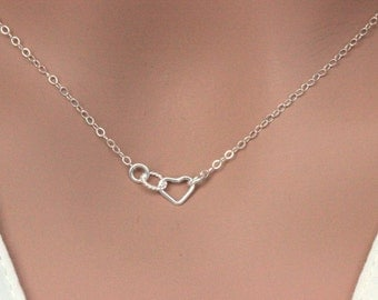 Sterling Silver Tiny Heart and Eternity neckalce, Tiny Heart & Tiny Circle Neckalce, Tiny Cute Neckalce, Tiny Open Heart Neckalce, Tiny