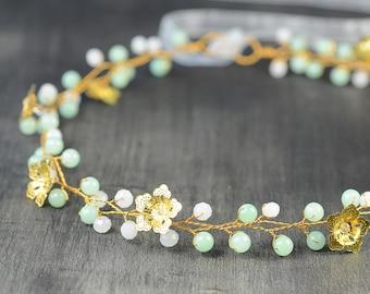 Mint Green Wedding Hair Piece, crystal Hair Vine, bridal Hairpiece , Boho Headpiece, Gold Flower Crown, crystal tiara, art deco wedding