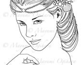 Mermaid Queen - digital stamp, colouring page, printable, instant download