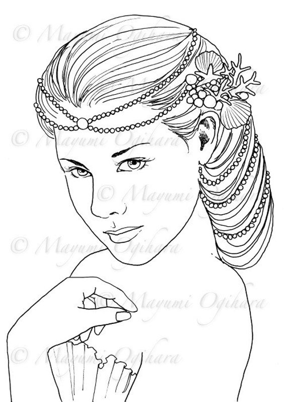 queen mermaid coloring pages - photo#18