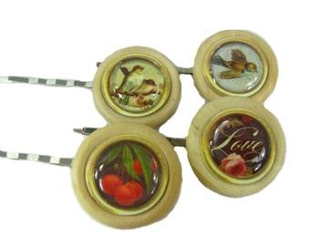 Wedding Hair Pins, Set of 4 Bridal Bobby Pins, Bridesmaid Gift, Wedding Hair Accessory, Woodland Wedding, Bridal Hair Pins