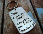 Personalized Keychain-Fathers Day Keychain-A Sons First Hero-A Daughters First Love-Keychain for Dad-Gift for Dad-Custom Keychain for Dad