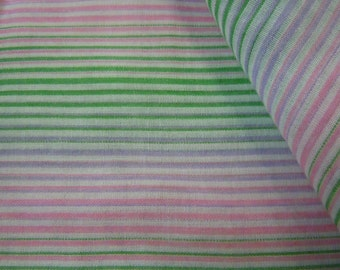 Pink & Green Striped Fabric, Purple Lines w/Variegated Striping, Lightweight Vintage Cotton Sewing and Crafting Material, Stripes, Line #403
