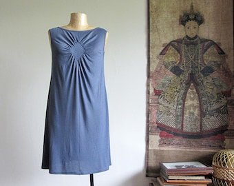 Grey shift dress with draped detail at front. Casual jersey tunic dress, unique, comfy day dress, holiday dress for her. Spring summer.