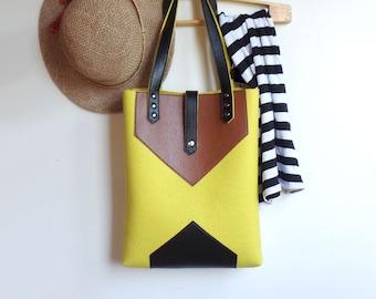 Yellow Brown Black Wool Felt Genuine Leather Tote Bag