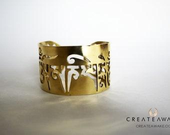 Om Mani Padme Hum- Power in Compassion Bracelet 24k gold plated.