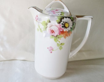Japanese Hand Decorated Porcelain Coffee Pot, Floral Motif, Golf Trim. Wedding Gift, Housewarming Gift, Mothers Day Gift, Get Well Gift