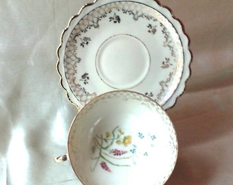 1970 German Porcelain Dessert Trio,Hand Decorated  Interior Floral Motif, Gold Lace Accent Border. Wedding  Gift