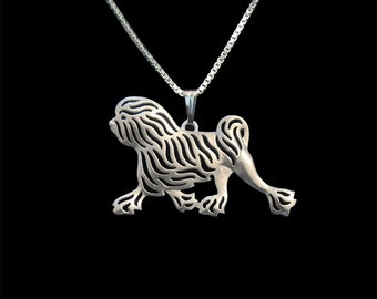 Lowchen movement - sterling silver pendant and necklace