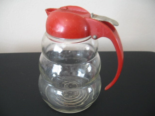 Vintage Pressed Glass Syrup Sugar Milk Pitcher With Red Lid