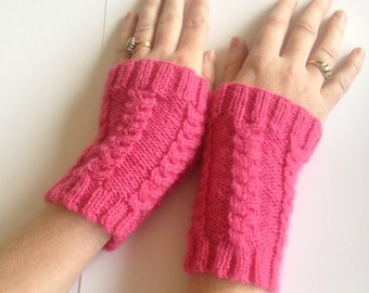 Womens texting,cabled cuffs mittens,hand knit/crochet pink gloves,arm warmers,hand warmers,designer unique hippie