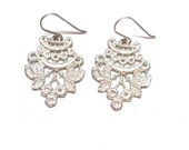 Lace Earrings - Sterling Silver - Chantilly - Cast from Real Lace