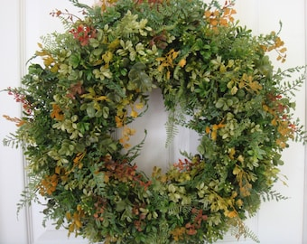 Fall boxwood wreath, fall wreath, boxwood wreath, fall boxwood door wreath, autumn wreath, outdoor wreath, front door wreath