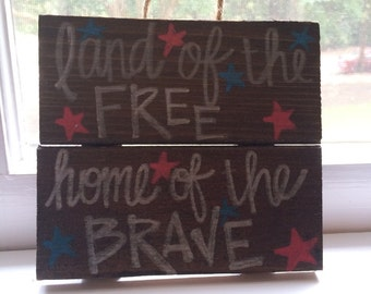 Small Patriotic Wooden Sign