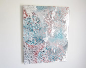 16x20 painting - abstract modern - acrylic painting - artwork - canvas home decor - original wall hanging - silver gray turquoise - mandala