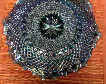 Blue  Carnival Glass Pinwheel Diamond Pattern Dish or low Bowl with Scalloped edges 1930s Iridescent