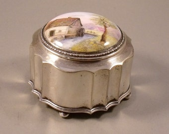 Vintage Alpaca Silver Trinket Jewel Box Hand Painted Ceramic lid