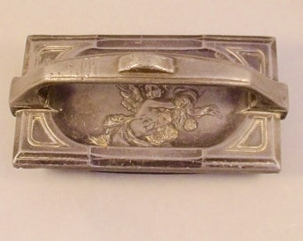 Antique Pewter Metal Desk Set Blotter with Cherub & Bird Decoration French?