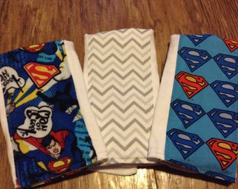 one baby boy Superman baby burp cloth set premium diaper man of steel super man clark kent manly husband friendly superman shower gift