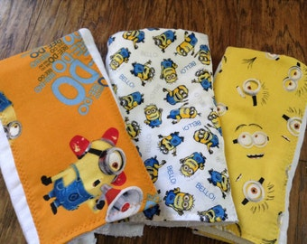 one Minion baby burp cloth set baby toy teething ring  premium diaper  six ply manly husband friendly baby present shower gift