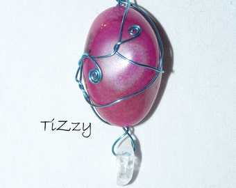 Pink Agate and Quartz w/ Light Blue Wire Wrapped Pendant